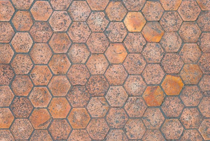 Κινηματογράφηση σε πρώτο πλάνο στο ηλικίας Hexagon διαμορφωμένο υπόβαθρο κεραμιδιών πατωμάτων στοκ εικόνες με δικαίωμα ελεύθερης χρήσης