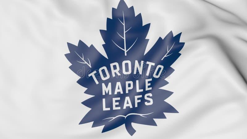Κινηματογράφηση σε πρώτο πλάνο της κυματίζοντας σημαίας με το λογότυπο ομάδων χόκεϊ του Τορόντου Maple Leafs NHL, τρισδιάστατη απ διανυσματική απεικόνιση