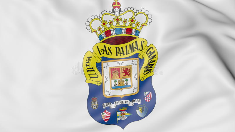 Κινηματογράφηση σε πρώτο πλάνο της κυματίζοντας σημαίας με το λογότυπο λεσχών ποδοσφαίρου UD Las Palmas, τρισδιάστατη απόδοση ελεύθερη απεικόνιση δικαιώματος