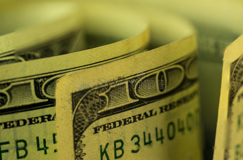 Κινηματογράφηση σε πρώτο πλάνο της μακρο εικόνας τραπεζογραμματίων ΑΜΕΡΙΚΑΝΙΚΩΝ δολαρίων στοκ εικόνα με δικαίωμα ελεύθερης χρήσης