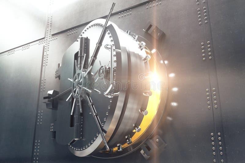 Κινηματογράφηση σε πρώτο πλάνο της πόρτας υπόγειων θαλάμων τραπεζών απεικόνιση αποθεμάτων