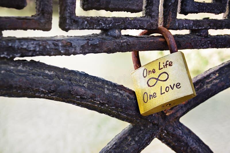 Κινηματογράφηση σε πρώτο πλάνο της χρυσής γαμήλιας κλειδαριάς στο σκουριασμένο φράκτη σιδήρου με μια αγάπη ένα κείμενο ζωής στοκ εικόνα