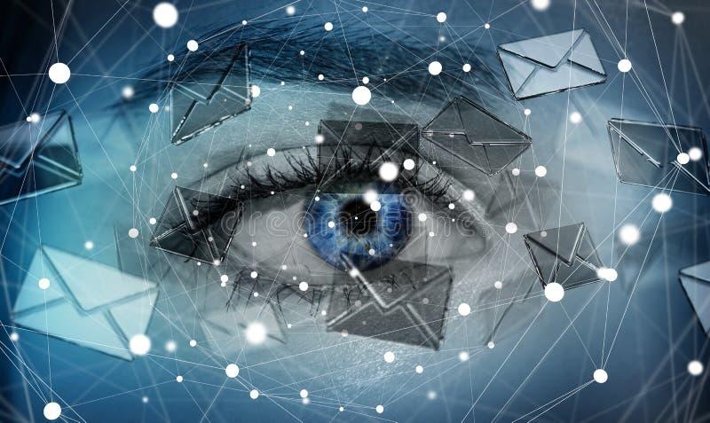 Κινηματογράφηση σε πρώτο πλάνο του ματιού γυναικών που στέλνει στα ηλεκτρονικά ταχυδρομεία την τρισδιάστατη απόδοση διανυσματική απεικόνιση