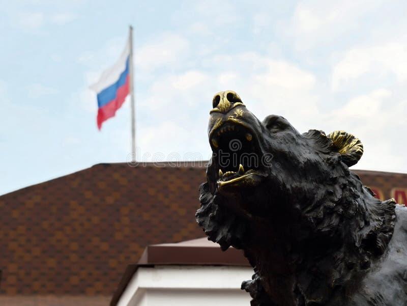 Κινηματογράφηση σε πρώτο πλάνο του μνημείου ` το σύμβολο της Ρωσίας - ο μύθος Yaroslavl ` στοκ εικόνες