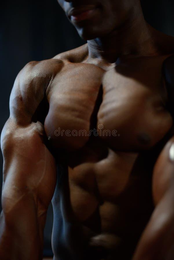 Κινηματογράφηση σε πρώτο πλάνο του πρότυπου γυμνού κορμού ατόμων αφροαμερικάνων που θέτει και που παρουσιάζει τέλειους μυς σωμάτω στοκ εικόνες