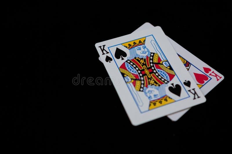 Κινηματογράφηση σε πρώτο πλάνο των καρτών βασιλιάδων στοκ φωτογραφία με δικαίωμα ελεύθερης χρήσης