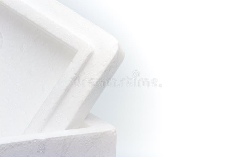 Κινηματογράφηση σε πρώτο πλάνο Styrofoam του κιβωτίου αποθήκευσης που απομονώνεται στοκ φωτογραφία με δικαίωμα ελεύθερης χρήσης