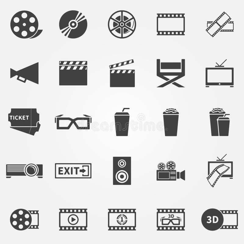 Κινηματογράφος ή εικονίδια κινηματογράφων απεικόνιση αποθεμάτων