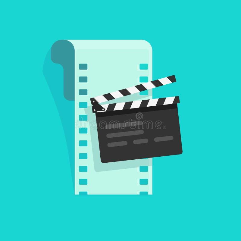 Κινηματογράφος ή σε απευθείας σύνδεση απεικόνιση έννοιας κινηματογράφων διανυσματική, επίπεδο ύφος κινούμενων σχεδίων clapper του απεικόνιση αποθεμάτων