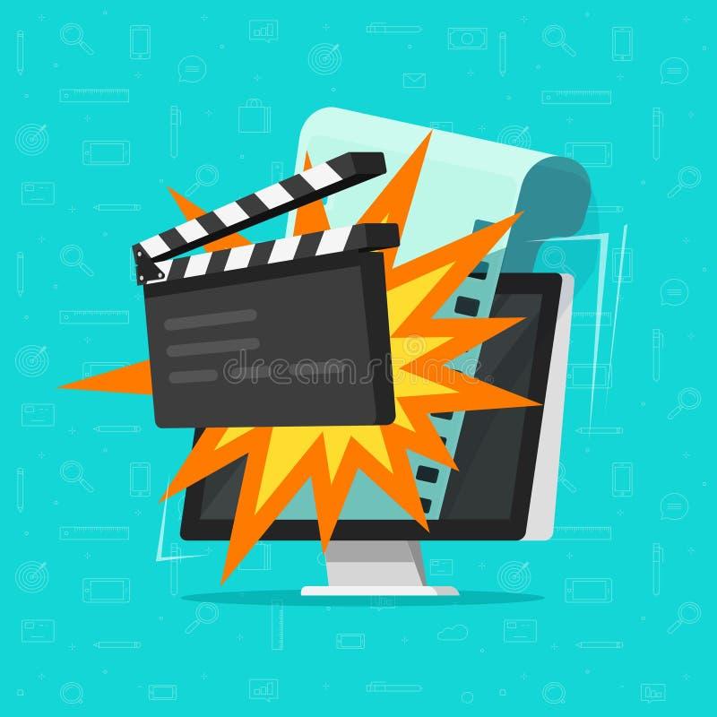 Κινηματογράφος ή σε απευθείας σύνδεση κινηματογράφος στη διανυσματική απεικόνιση έννοιας υπολογιστών, επίπεδο σχέδιο κινούμενων σ διανυσματική απεικόνιση