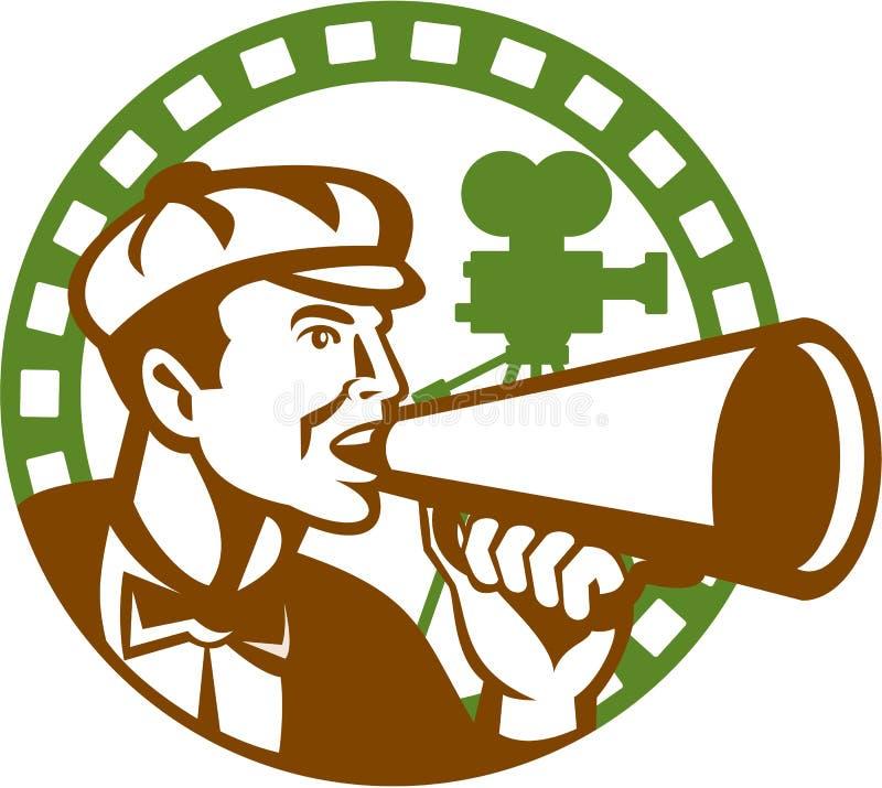 Κινηματογράφος διευθυντής Bullhorn Vintage Movie Camera αναδρομική διανυσματική απεικόνιση