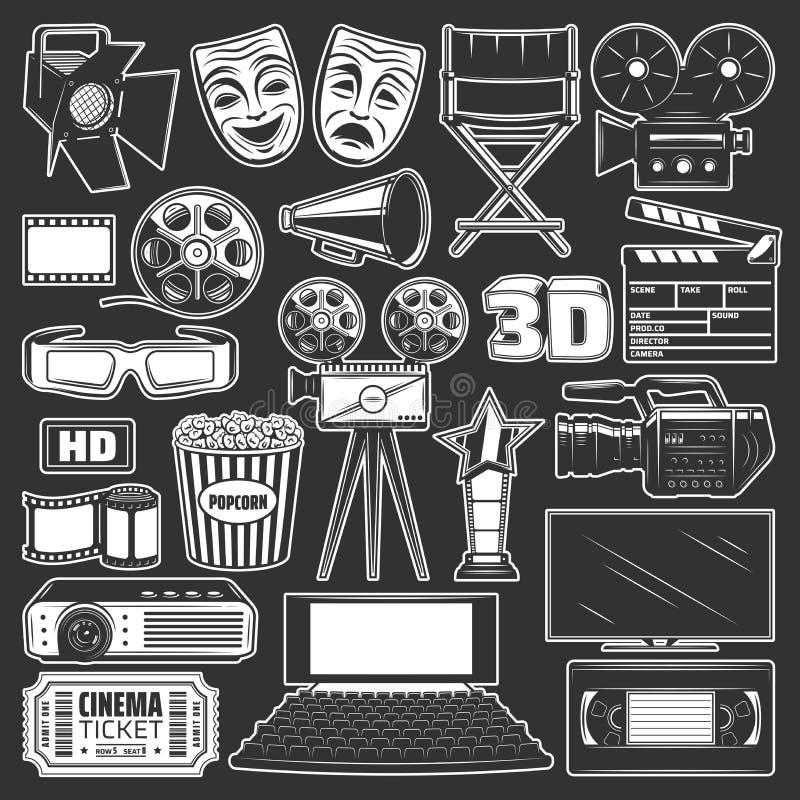 Κινηματογράφος, κινηματογράφος και εξέλικτρο ταινιών, popcorn, τρισδιάστατα γυαλιά απεικόνιση αποθεμάτων