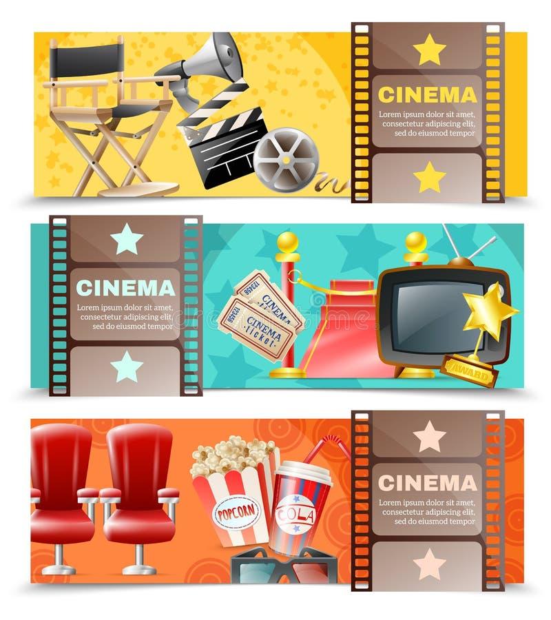 Κινηματογράφος 3 κινηματογράφων οριζόντια αναδρομικά εμβλήματα απεικόνιση αποθεμάτων