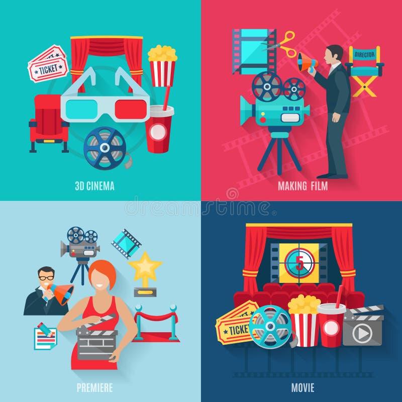 Κινηματογράφος που καθιστά τα εικονίδια καθορισμένα ελεύθερη απεικόνιση δικαιώματος