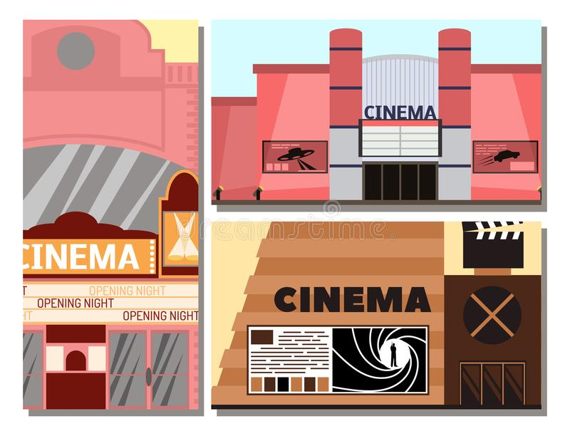 Κινηματογράφος που χτίζει το διανυσματικό εξωτερικό θεάτρων αρχιτεκτονικής σπιτιών πόλεων ψυχαγωγίας κινηματογράφων προσόψεων απε απεικόνιση αποθεμάτων
