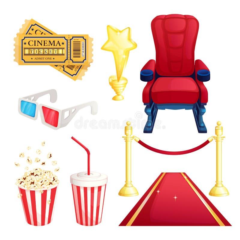 Κινηματογράφος προσοχής και θέατρο κινηματογράφων, διανυσματικά στοιχεία σχεδίου κινούμενων σχεδίων καθορισμένα Εισιτήρια, popcor απεικόνιση αποθεμάτων