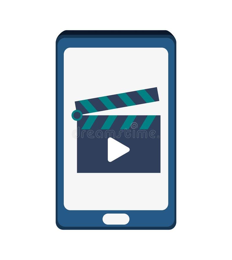 Κινηματογράφος Smartphone και μεγάλο σχέδιο στοιχείων απεικόνιση αποθεμάτων