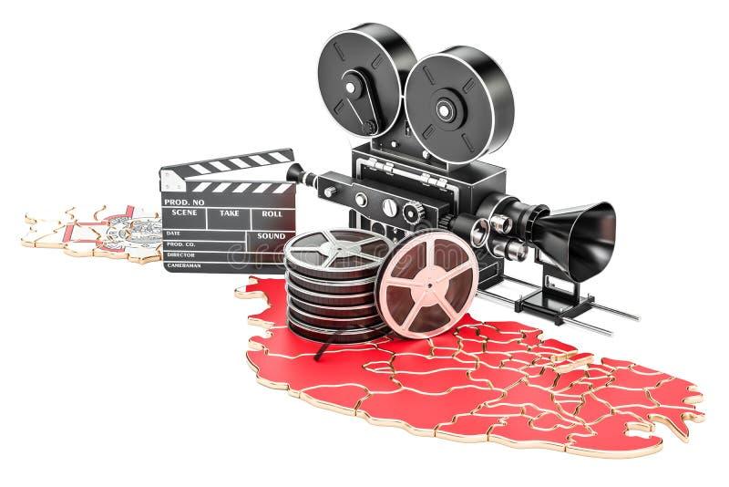 Κινηματογραφία της Μάλτας, έννοια βιομηχανίας κινηματογράφου τρισδιάστατη απόδοση διανυσματική απεικόνιση