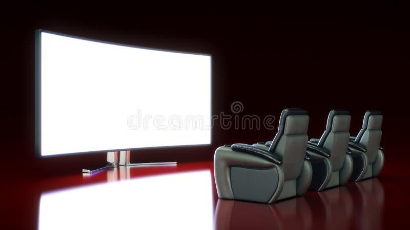 Κινηματογραφική αίθουσα με την κενή οθόνη διανυσματική απεικόνιση