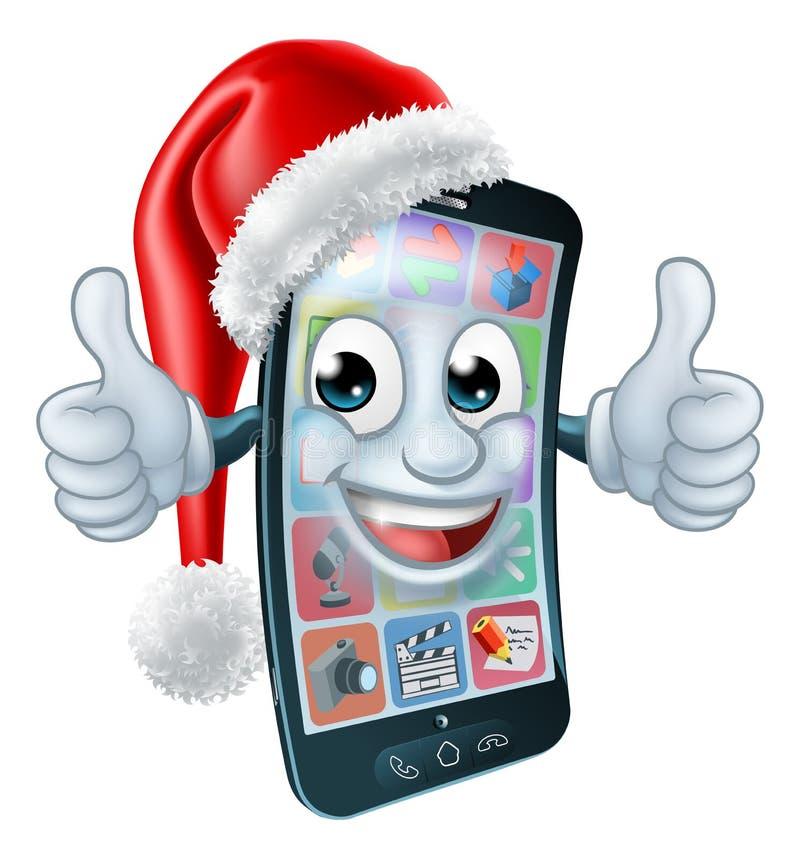 Κινητά τηλεφωνικά κινούμενα σχέδια κυττάρων Χριστουγέννων στο καπέλο Santa διανυσματική απεικόνιση