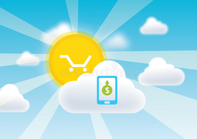 Κινητές αγορές σύννεφων διανυσματική απεικόνιση