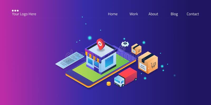 Κινητές αγορές, ψηφιακό μάρκετινγκ, ηλεκτρονικό εμπόριο app στο smartphone, ε-πληρωμή και σε απευθείας σύνδεση έννοια καταδίωξης  διανυσματική απεικόνιση