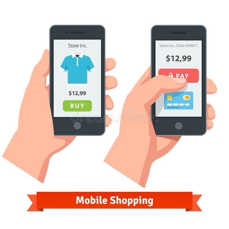 Κινητές σε απευθείας σύνδεση αγορές ηλεκτρονικού εμπορίου smartphone ελεύθερη απεικόνιση δικαιώματος