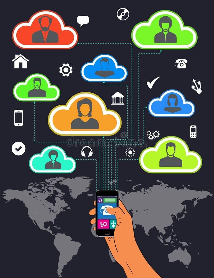 Κινητές τηλεφωνικές διεθνείς περιπλάνηση και ομαδική εργασία διανυσματική απεικόνιση