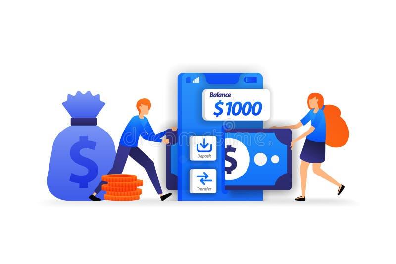 Κινητές τραπεζικές εργασίες apps ο ασφαλής χώρος για να κερδίσει χρήματα, μια γυναίκα προσθέτει τα χρήματα στην κατάθεση υπόψη έν διανυσματική απεικόνιση