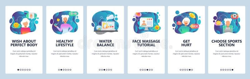 Κινητές app onboarding οθόνες Αθλητισμός και υγιής τρόπος ζωής, ισορροπία νερού και διατροφή Διανυσματικό πρότυπο εμβλημάτων επιλ ελεύθερη απεικόνιση δικαιώματος