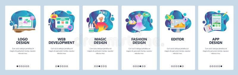 Κινητές app onboarding οθόνες Ανάπτυξη Ιστού, σχέδιο μόδας, κινητή έκδοση φωτογραφιών Διανυσματικό πρότυπο εμβλημάτων επιλογών γι ελεύθερη απεικόνιση δικαιώματος