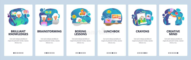 Κινητές app onboarding οθόνες Δημιουργικότητα, καταιγισμός ιδεών, γνώση και εκπαίδευση, τρυπώντας μαθήματα Διανυσματικό έμβλημα ε διανυσματική απεικόνιση