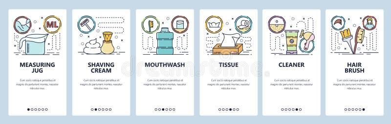 Κινητές app onboarding οθόνες Εξαρτήματα σαλονιών ομορφιάς, κρέμα ξυρίσματος, καθαριστής, βούρτσα τρίχας Διανυσματικό πρότυπο εμβ διανυσματική απεικόνιση
