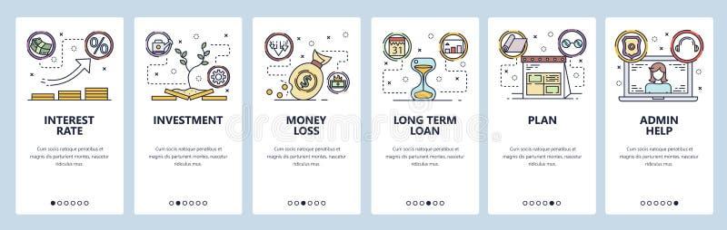 Κινητές app onboarding οθόνες Επιτόκιο, επένδυση χρημάτων, τραπεζικό δάνειο Διανυσματικό πρότυπο εμβλημάτων επιλογών για τον ιστο ελεύθερη απεικόνιση δικαιώματος