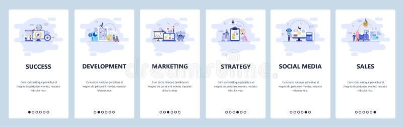 Κινητές app onboarding οθόνες Επιχειρησιακή στρατηγική, κοινωνικά μέσα, on-line αγορές και πωλήσεις, ψηφιακό μάρκετινγκ menu απεικόνιση αποθεμάτων