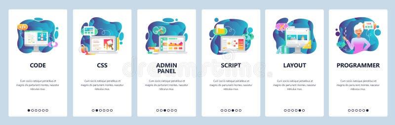 Κινητές app onboarding οθόνες Θηλυκός υπεύθυνος για την ανάπτυξη, κώδικας προγραμματισμού, επιτροπή admin και χειρόγραφο της Ιάβα ελεύθερη απεικόνιση δικαιώματος