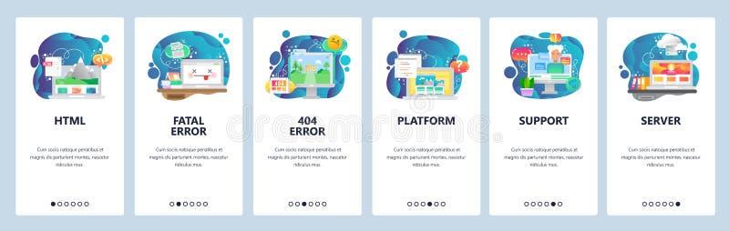 Κινητές app onboarding οθόνες Λογισμικό και ανάπτυξη Ιστού, κωδικοποίηση, 404 λάθος, βοηθός συνομιλίας BOT Διανυσματικό έμβλημα ε ελεύθερη απεικόνιση δικαιώματος