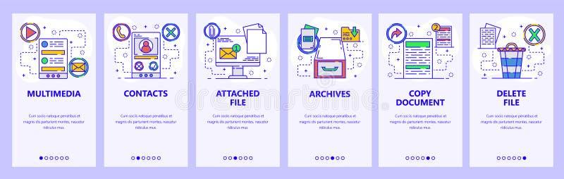Κινητές app onboarding οθόνες Οι υπηρεσίες υπολογιστών, μέσα, ηλεκτρονικό ταχυδρομείο, αρχεία, αντίγραφο και διαγράφουν τα αρχεία διανυσματική απεικόνιση