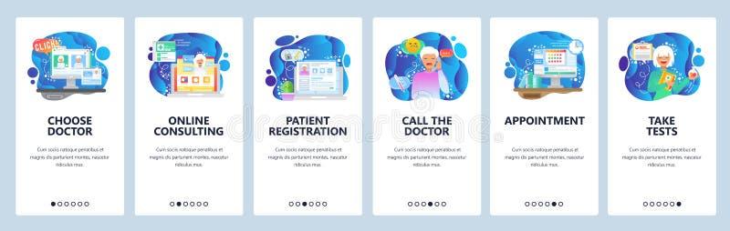 Κινητές app onboarding οθόνες Σε απευθείας σύνδεση ιατρική σύσκεψη, συνομιλία με το γιατρό, άρρωστος ασθενής Διανυσματικό πρότυπο απεικόνιση αποθεμάτων