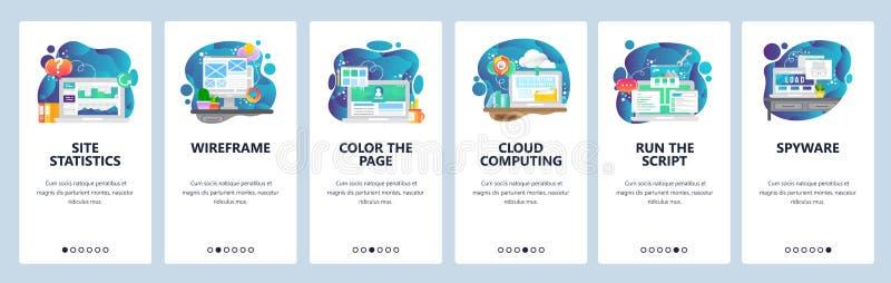 Κινητές app onboarding οθόνες Σε απευθείας σύνδεση υπηρεσίες, ιστοχώρος wireframe και ανάπτυξη σύννεφων, υπολογισμός σύννεφων Διά ελεύθερη απεικόνιση δικαιώματος