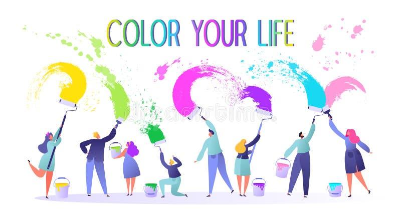 Κινητήρια απεικόνιση στο μεταβαλλόμενο θέμα ζωής Αυτοί που καλούν για να ζήσει μια πλήρης, φωτεινή ζωή Ελάχιστα, επίπεδος, χρώματ διανυσματική απεικόνιση