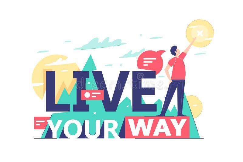 Κινητήριο κείμενο ζωντανού ο τρόπος σας στο φυσικό υπόβαθρο ελεύθερη απεικόνιση δικαιώματος