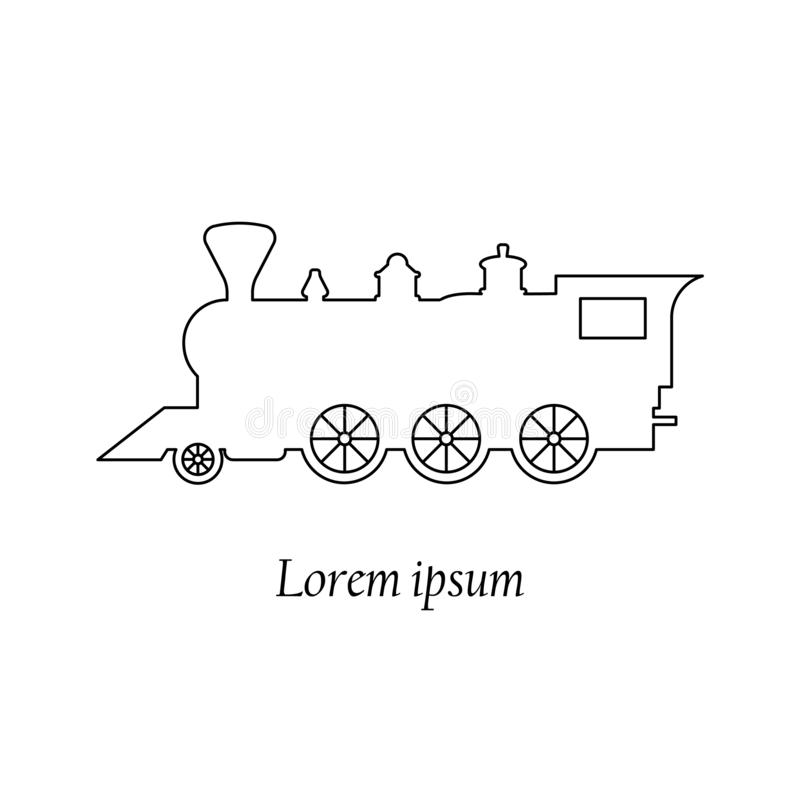 Κινητήριο, παλαιό εκλεκτής ποιότητας ύφος ατμού τραίνων αναδρομικό, διανυσματική γραμμή εικονιδίων, έμβλημα διανυσματική απεικόνιση