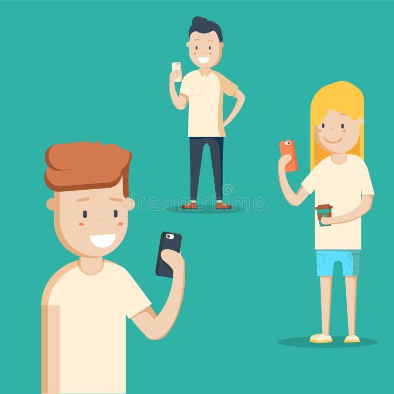 Κινητή έννοια αγγελιοφόρων συνομιλίες έννοιας επικοινωνίας δεσμών που έχουν τους ανθρώπους μέσων κοινωνικούς Μια ομάδα νέων με τα ελεύθερη απεικόνιση δικαιώματος