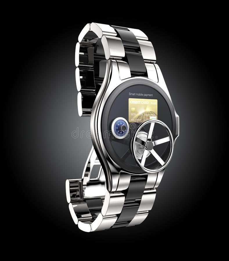Κινητή έννοια ασφάλειας πληρωμής για το έξυπνο ρολόι απεικόνιση αποθεμάτων