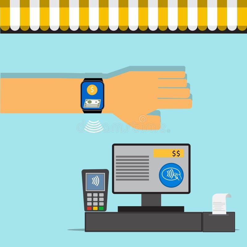 Κινητή έννοια πληρωμής στο smartwatch με το διάνυσμα τεχνολογίας NFC ελεύθερη απεικόνιση δικαιώματος