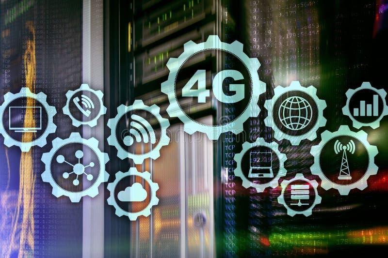 Κινητή έννοια σύνδεσης στοιχείων υψηλής ταχύτητας τηλεπικοινωνιών κυψελοειδής: 4G LTE Στο υπόβαθρο δωματίων κεντρικών υπολογιστών διανυσματική απεικόνιση