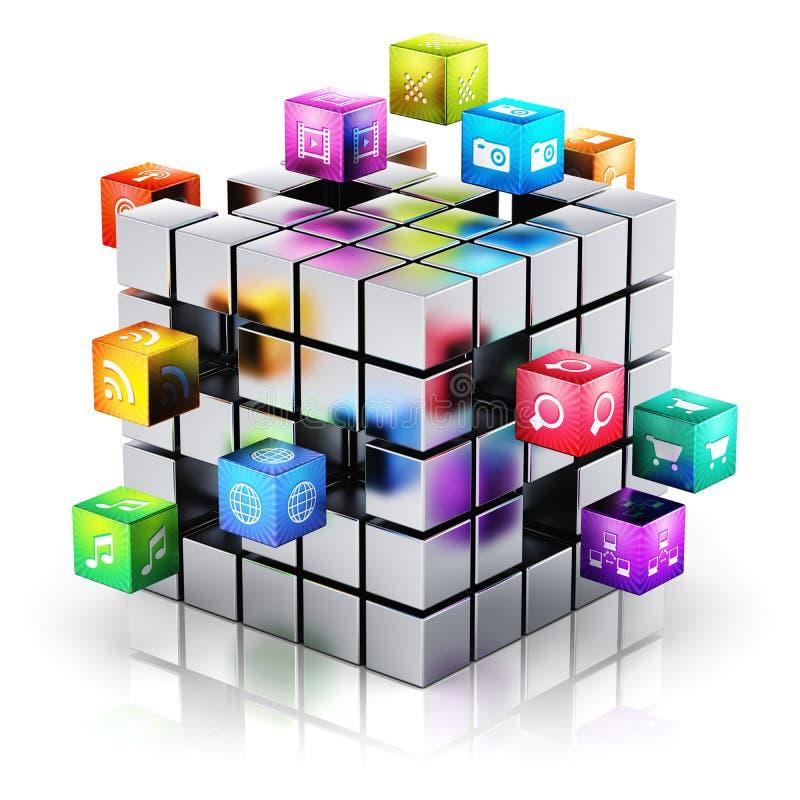 Κινητή έννοια τεχνολογίας εφαρμογών και μέσων διανυσματική απεικόνιση