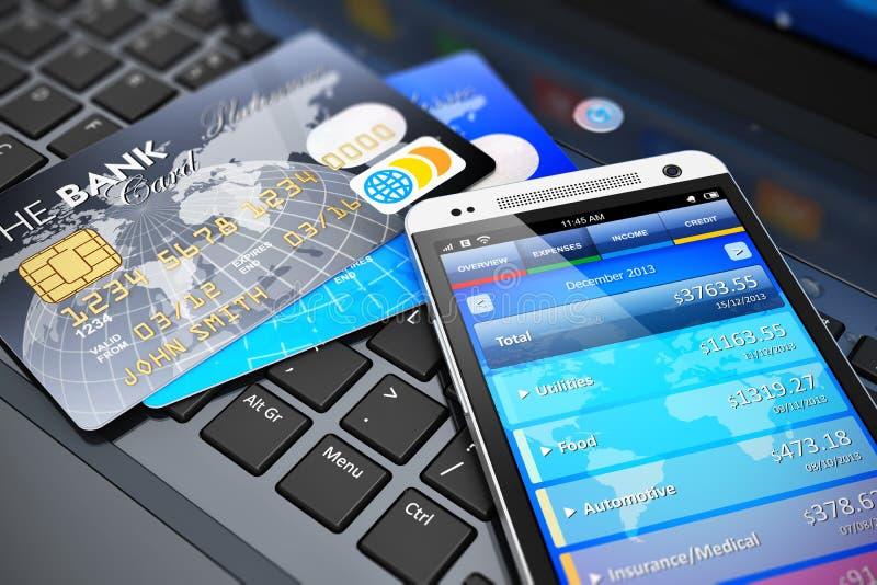 Κινητή έννοια τραπεζικών εργασιών και χρηματοδότησης απεικόνιση αποθεμάτων
