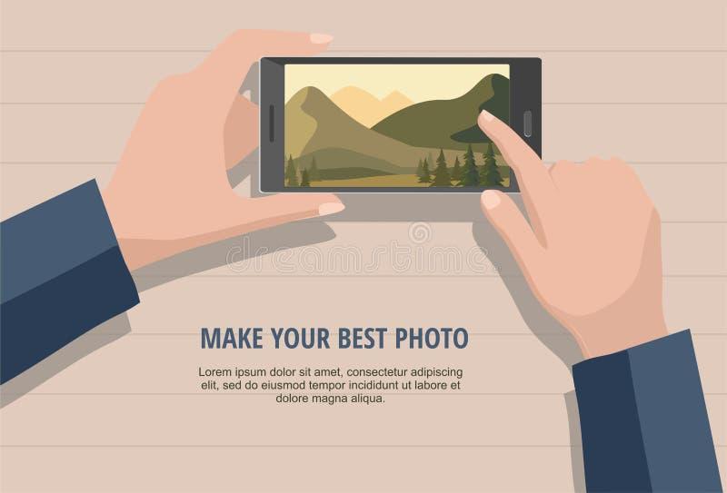 Κινητή έννοια φωτογραφίας Άτομο που φαίνεται φωτογραφίες του τοπίου φύσης για να τηλεφωνήσει Απομονωμένος στο ξύλινο υπόβαθρο απεικόνιση αποθεμάτων